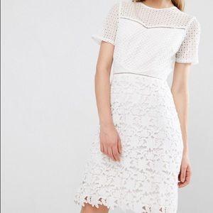 Reiss white lace shift dress